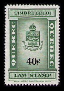 CANADA, QUEBEC SCARCE 40c #QL112 MNG NH LAST REVENUE ISSUE 1962 CAT $7.50 (U053)