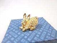Avon Pin Brooch Rhinestones Gold Tone Bunny Shape Nwb Av9