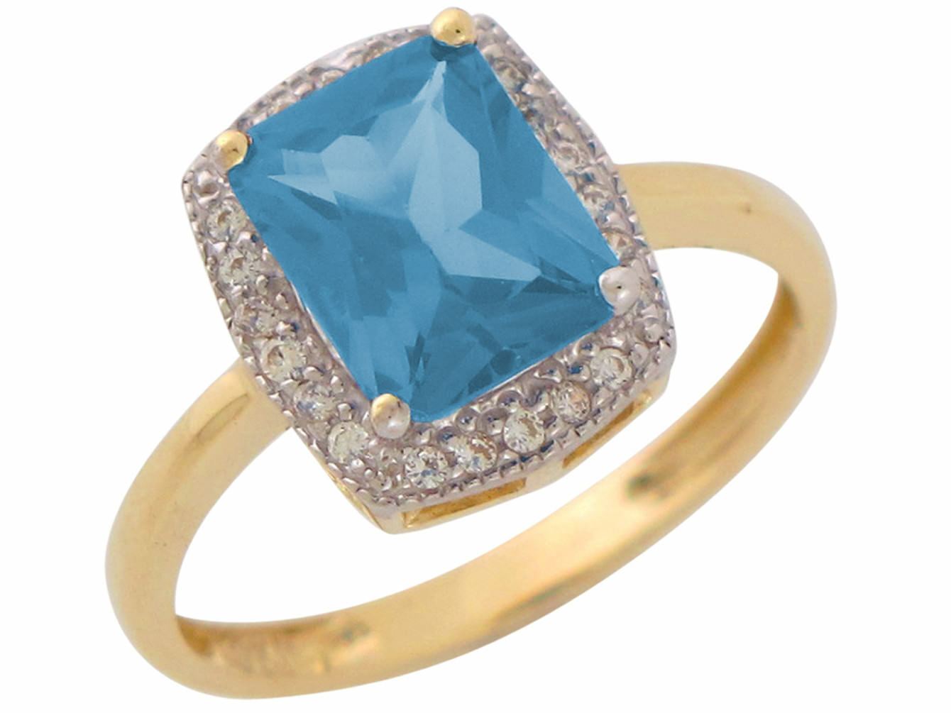 10k or 14k Real gold Simulated Aquamarine White CZ Ladies March Birthstone Ring