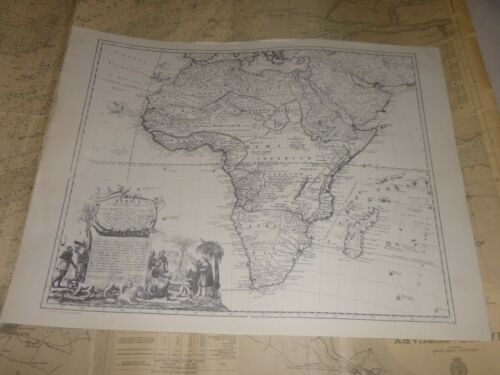 Reproduction of a 1737 Antique Map. Large Map of AFRICA