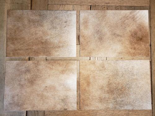 4 Tischsets / Platzsets aus echtem Kuhfell hellbraun/grau 48cm x 33cm