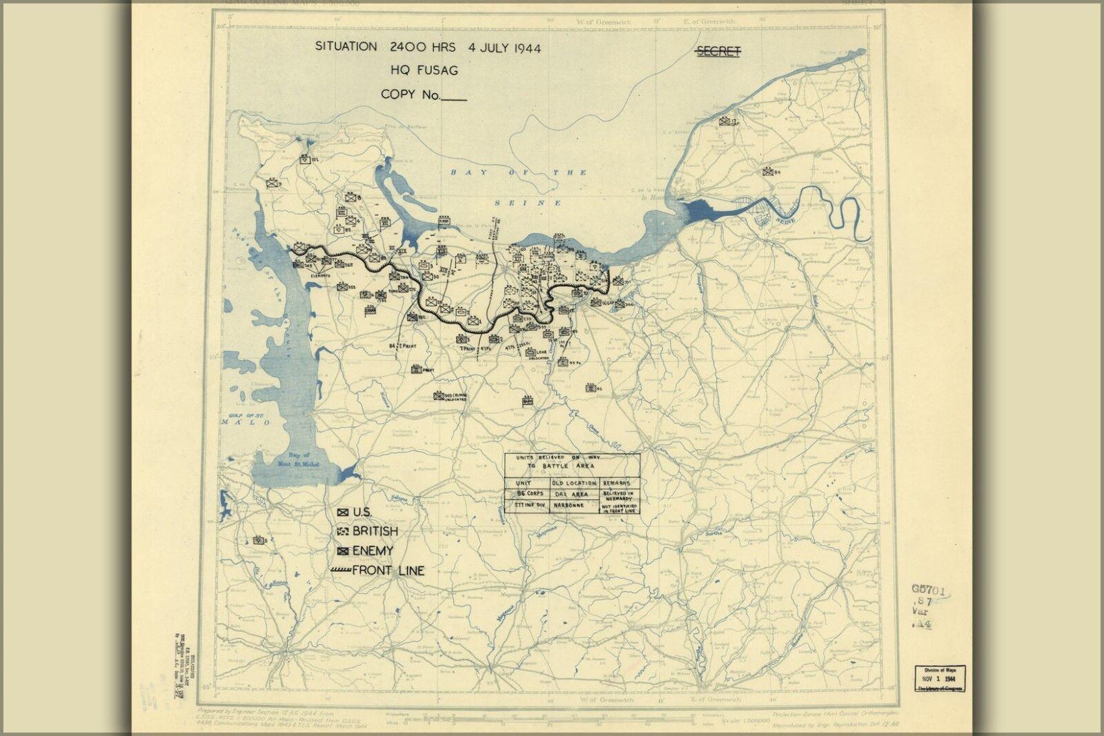 Plakat, Viele Größen ; July 4, 1944 Schlacht Normandie Karte
