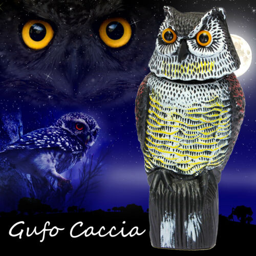 Large Realistic Owl Simulation Decoy Rotating Head Bird Pest Weed Crow