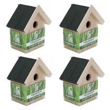 4 X WOODEN NESTING NEST BOX BIRD HOUSE SMALL BIRDS BLUE TIT ROBIN SPARROW