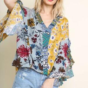 UMGEE-Boho-Top-Mixed-Print-Surplice-Shirt-Blouse-New