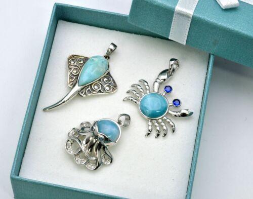 Larimar 3 Pendents Marine Life Premium Jewelry .925 Sterling Silver Wholesale