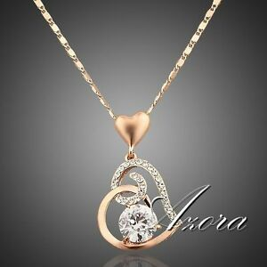 Fashion-Love-Heart-Chain-Pendant-18K-Rose-Gold-Plated-Swarovski-Crystal-Necklace