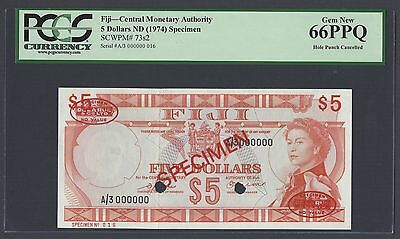 1974 P73s2 Specimen Tdlr Uncirculated Graded 66 Attractive Appearance Creative Fiji 5 Dollars Nd