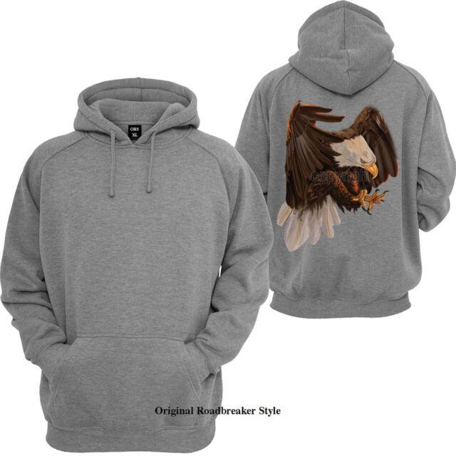 Sweatshirt Jacke in schwarz mit einem Adler Tier-/& Naturmotiv Modell Five Eagles