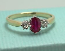 RUBY & diamond 9ct GOLD 3 STONE LADIES WOMENS engagement BAND ring RRP £495