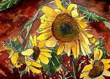 sunflower sunflowers flower flowers watercolor painting drawing art print sun