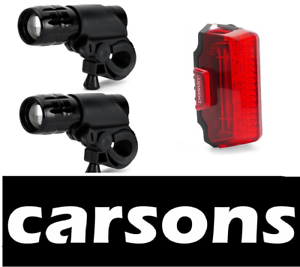 Two Front Zoom Focus Mountain Bike Lights Set LED Cycle Light Road BMX Bicycles
