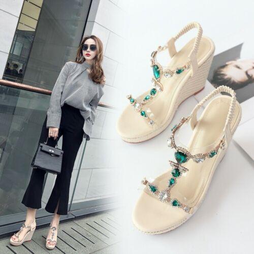 Details about  /Women/'s Platform Wedge Heels T-Strap Rhinestone Slingback Sandals Peep Toe Shoes