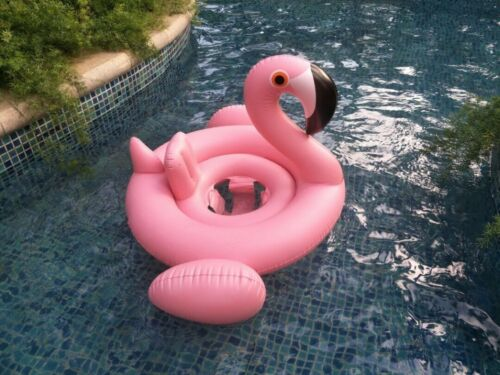 Flamingo Baby Inflating Inflatable Swimming Aid Lilo Trainer Seat Ring 6-24M UK