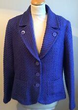 PER UNA .. ROYAL BLUE  FITTED JACKET .. 23% WOOL BLEND .. BOUCLE STYLE - SIZE 16