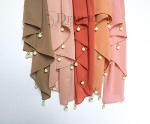 Chiffon-Hijab-Pearl-Rings-Crystal-Scarf-Elegant-Sarong-Shawl-Wrap