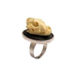 Wolf-skull-ring-gothic-goth-silver-adjustable-vegan-taxidermy-steampunk-unisex