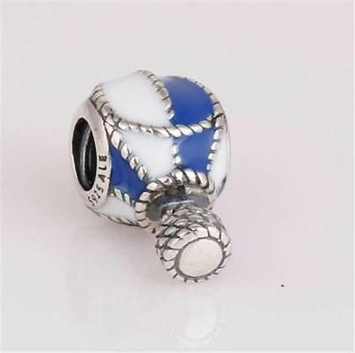 genuine 925 sterling solid silver hot air balloon dangle charm bead