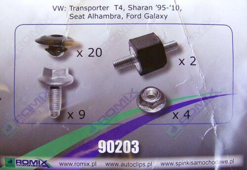 T4; 90203 Galaxy Sharan ROMIX Engine Under Cover Fastener Kit Alhambra
