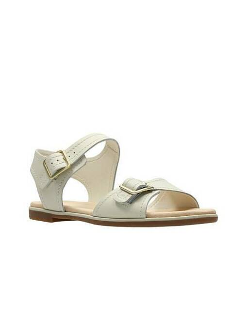 dd390ca4f2a2a Clarks Womens Bay Primrose White Leather Buckle Strap Summer Sandals D  Fitting