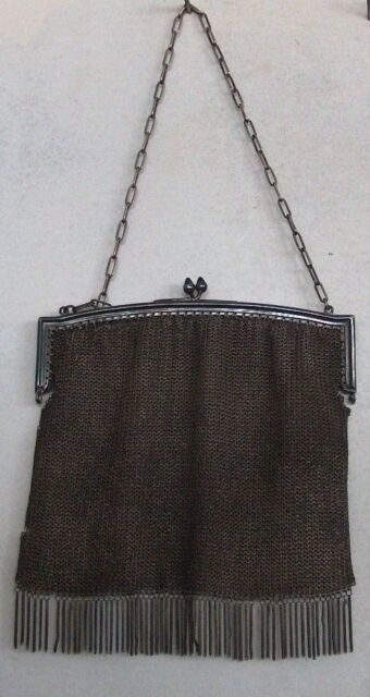 ANTIQUE  ART NOUVEAU ART DECO MESH METAL PURSE WITH CHAIN AND FRINGE, 1900-1920
