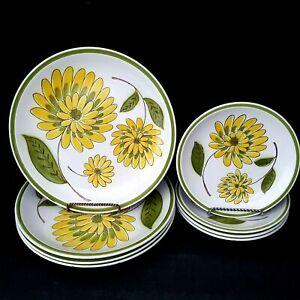 Mikasa-Tampa-Daisy-4-Dinner-Plates-4-Salad-Plates-Vintage-1970s-Green-Band-Nice