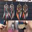Femmes Vintage Ethnique Rainbow Bead Feather Dangle Boucles d/'oreilles pendantes crochet Boho Jewelry