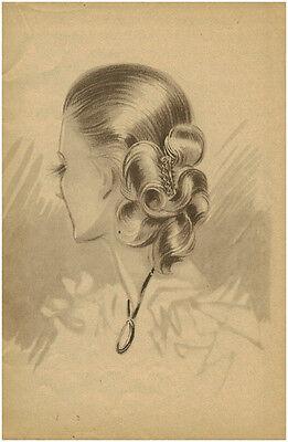 Publicité ancienne portrait femme coiffure mode année 40 no 5