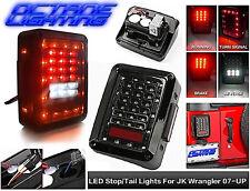 07-16 Jeep Wrangler JK Black LED Rear Tail Light Brake Turn Signal Reverse Pair