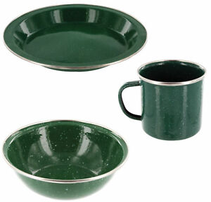 Highlander Deluxe Enamel Mug Forest Green with Stainless Steel Rim Camping Cup