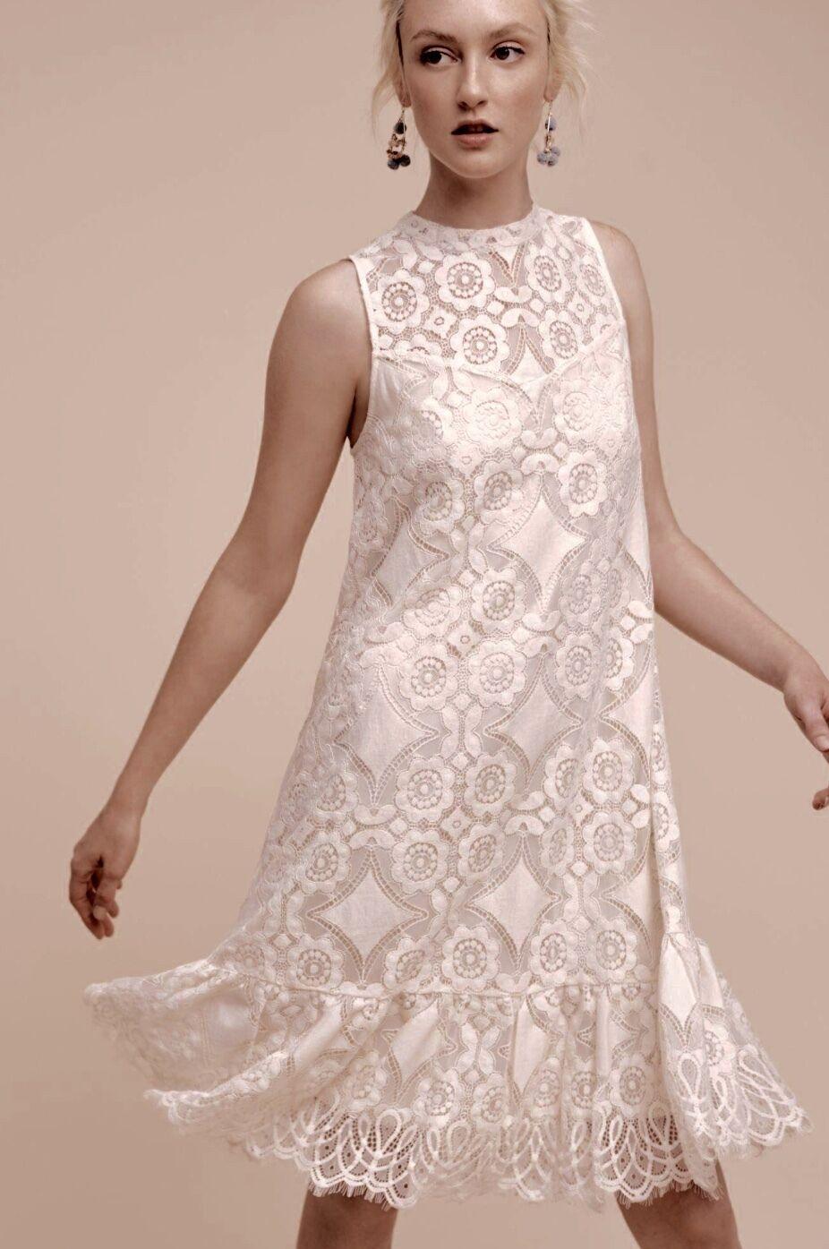 NWT Anthropologie Floreat ivory Lace Ruffle Hem Swing Dress sleeveless 4