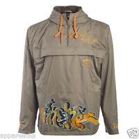 Adidas Originals E2E Mens Graffiti Wind Stopper Beige Pull Over Hooded Jacket
