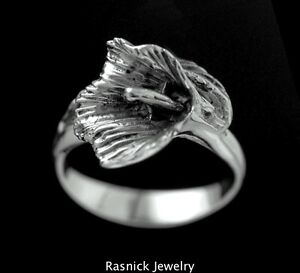 Sterling-Silver-CALLA-LILY-RING-Sizes-4-5-9-0-Hand-Made-in-LA-California