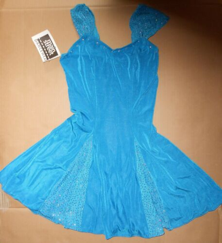 NWT Ladies Slinky Glittered Panel A Line Dress Rhinestone Turquoise blue S//Med