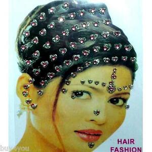 Bollywood Bindis Indisch Haarschmuck Kopfschmuck Strass Hochzeit Karneval Rosa