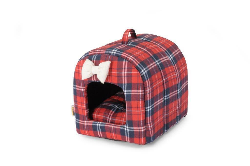 Cuccia Tunnel per cani e gatti in fantasia Tartan con maniglia fondo antiscivolo