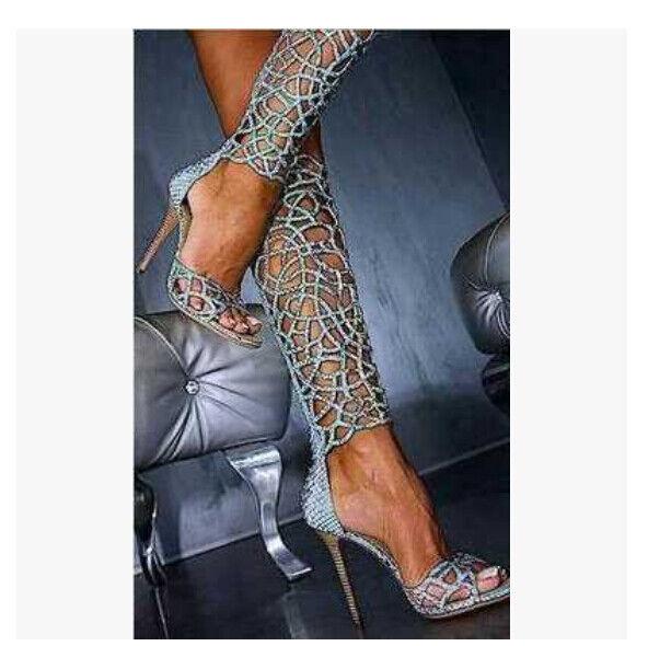 Zapatos De Cuero para mujer Puntera Abierta Rodilla Alto Alto Rodilla Calado Roma Gladiador Tacón Alto Fiesta G1 5491e8