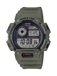 Casio Classic Men's Quartz World Time Green Resin Band 51mm Watch AE1400WH-3AV