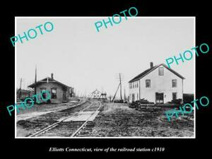 OLD-LARGE-HISTORIC-PHOTO-OF-ELLIOTTS-CONNECTICUT-THE-RAILROAD-STATION-c1910