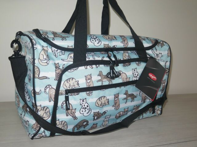 Olympia Harmony 21 Printed Carry On Duffel Travel Bag Cat Aqua Blue Striped