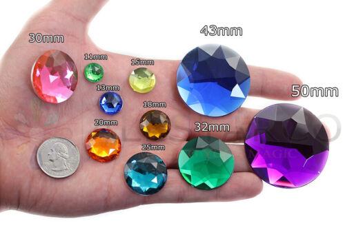 2 Pieces 43mm Large Self Adhesive Round Jewels Rhinestone Sticker Acrylic Gems