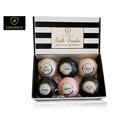Luxurico Bath Bombs Gift Set 6 Natural Fizzies, Shea Butter & Lavender