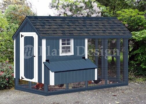 4x8 Gable Chicken Coop with Run Plans, Material List included, Design 70408RG