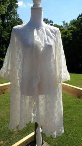 Vintage White Lace Ruffled Kimono Duster Robe Size