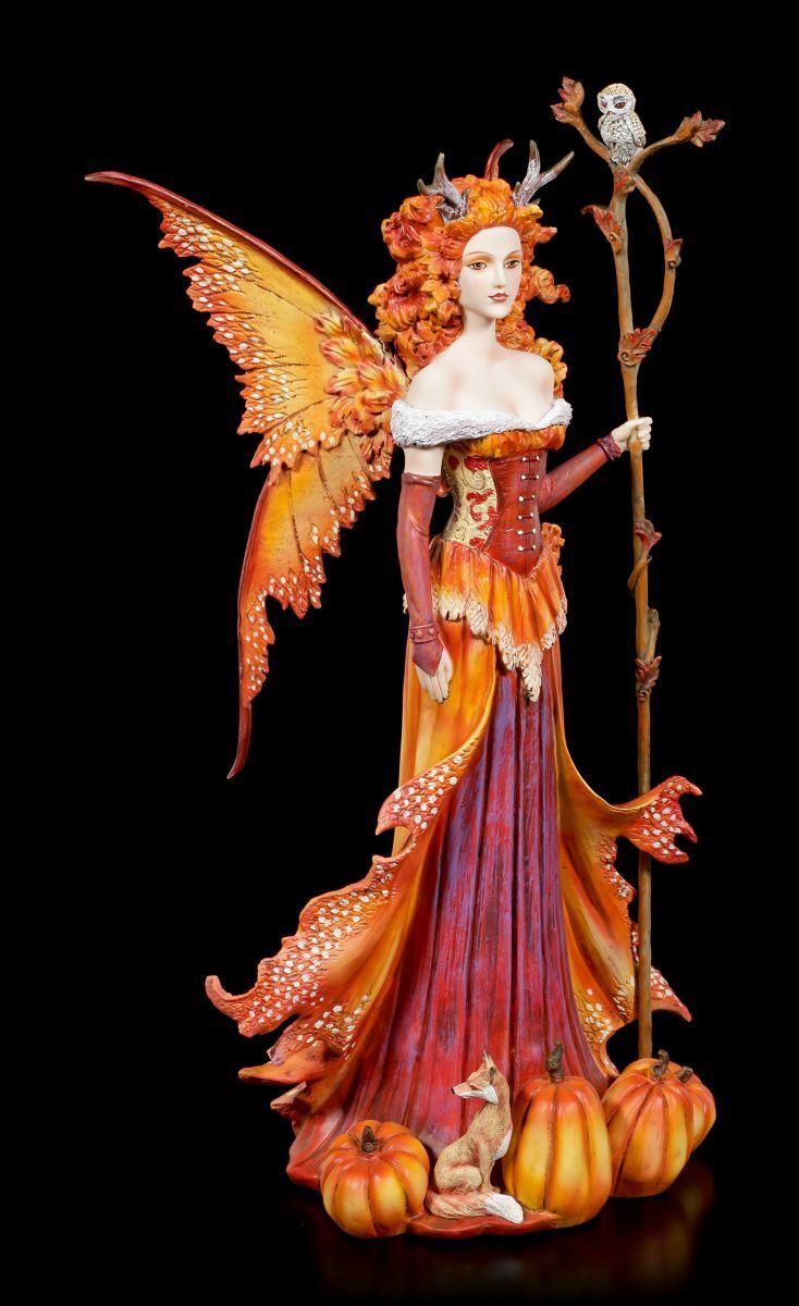 Figura Elfos - Calabaza QUEEN von Amy Marrón - Halloween Hadas Colección Estatua