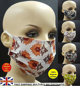 Face Mask Protective Covering Mouth Masks Washable Lot Reusable Uk Cotton Ebay