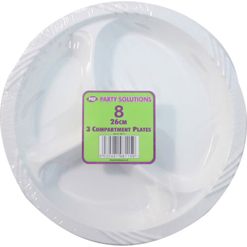 6 X Plastic Plates 3 Compartment 10  26cm Disposable Party Catering Parties  sc 1 st  eBay & 6 X Plastic Plates 3 Compartment 10