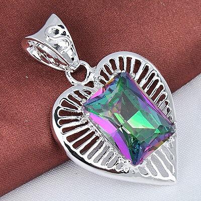 Free Shipping ! Romance Love Heart Rainbow Mystical Topaz Gems Silver Pendant
