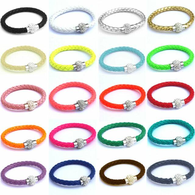 PU Leather Wrap Wristband Rhinestone Stainless Steel Magnetic Buckle Bracelet JN