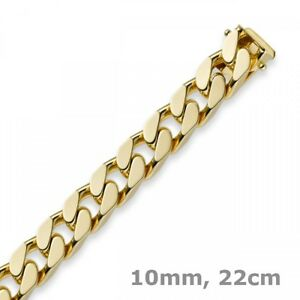 10mm-Armband-Armkette-Panzerarmband-585-Gold-Gelbgold-22cm-Herren